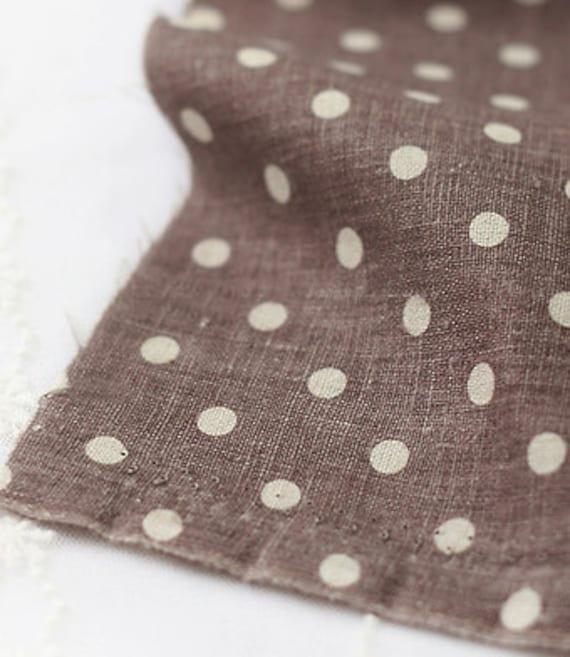 Polka Dots on Brown Linen WIDE 145cm, U2927