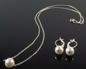 Princess Pearl Necklace and Earrings Set - Swarovski Pearls, Sterling Silver Chain
