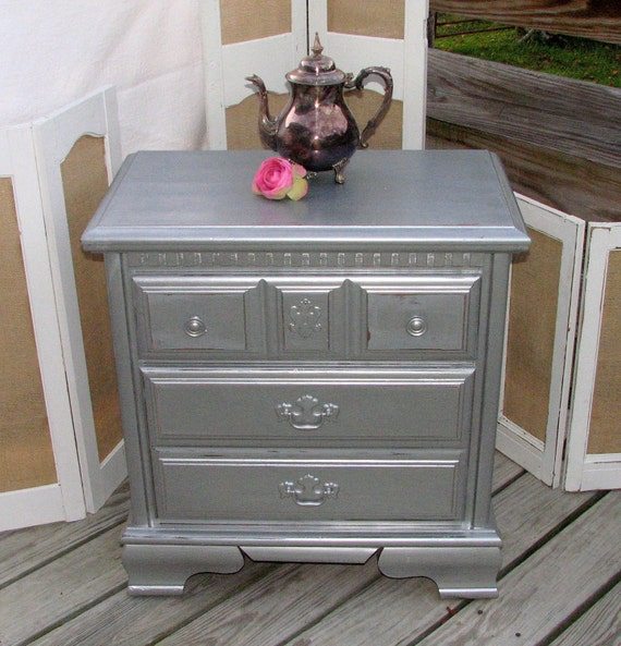 Gorgeous Silver Metallic Gray Nightstand End Table By The