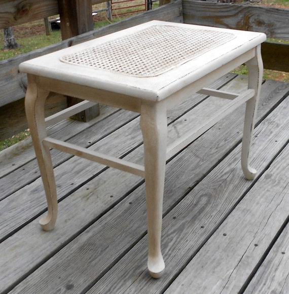 Sweet Antique Tattered Cane Bench by Shabby Home Furniture