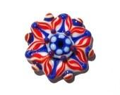 4th of July lempwork flower bead