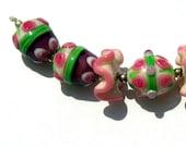 7 beads lampwork set