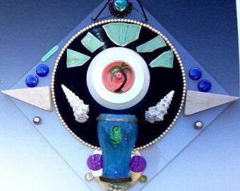 3D Beach Wall Art, Incense Holder Vase Vinyl Record CD Lucite Base Shells Pearls Ceramics Seaside Caribbean Margaritaville Green Aqua Coral