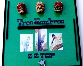 TRES HOMBRES ZZ Top Classic Rock Framed Vinyl Record Art, Gatefold Album Dusty Hill Billy Gibbons 1973 La Grange, Green Black, Texas Rock,