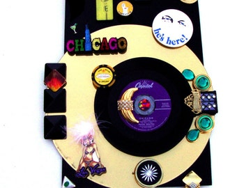 "SINATRA ""Chicago"" 1957 Vinyl 7"" Record Gold Mirror Laser Disc Black Acrylic 3D Art, Vintage Vegas Blue Eyes Lady Luck Buttons Pocket Ashtray"