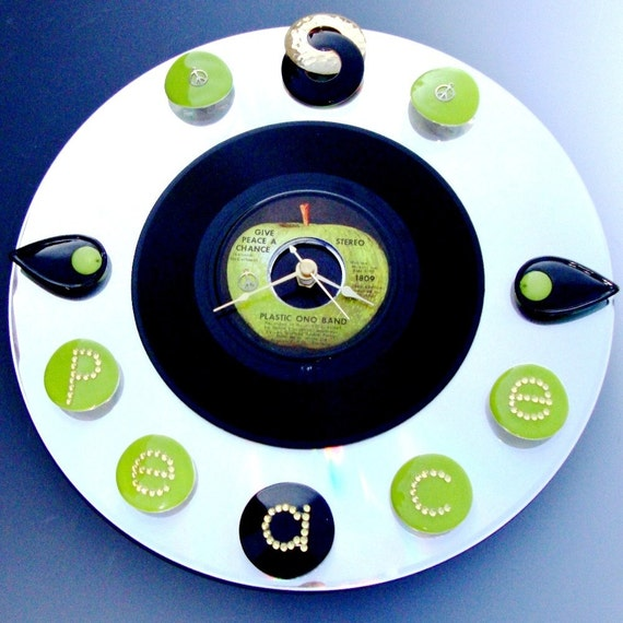 CLOCK, JOHN LENNON, Give Peace A Chance, Vinyl Record and Laser Disc, Green Black Silver Mirror