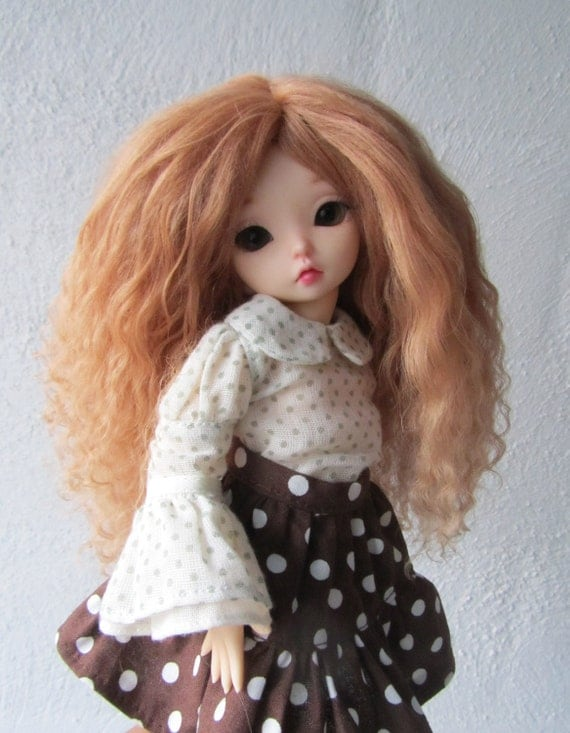 Sweet Caramel Brown mohair wig for Littlefee / other YoSD sized / Unoa doll