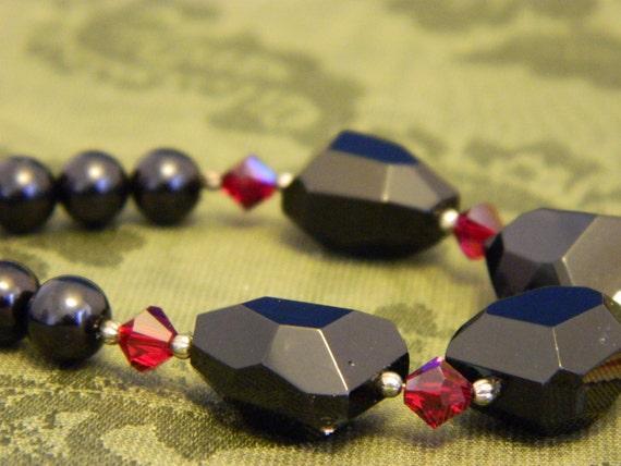 BLACK Glass Chunks Necklace Set - BLOWOUT SALE