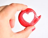 Christmas in July red heart polymer clay brooch speech bubble pin