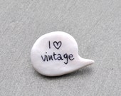 Vintage brooch white polymer clay pin