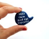 Christmas in July Polymer clay blue brooch speech bubble pin