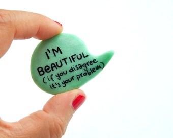 Mint brooch pin green polymer clay