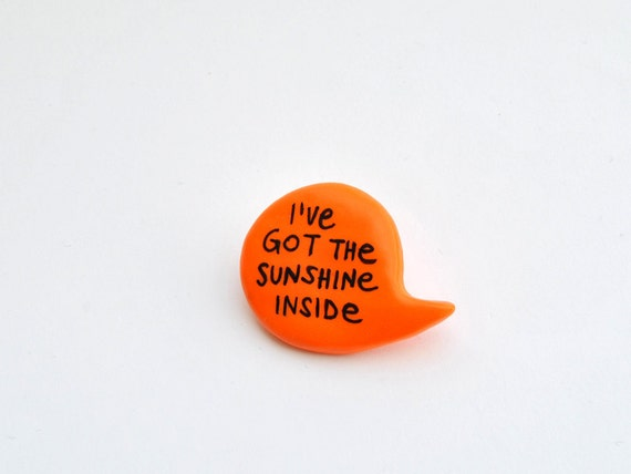 Neon orange polymer clay balloon pin