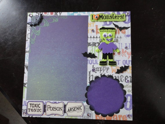 Halloween - I love Monsters and Poisons 8 x 8 scrapbook page