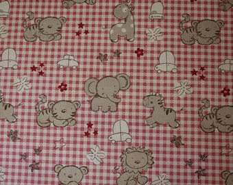 kawaii zoo in Red -Japanese cotton fabric -Half Yard