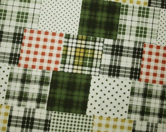 New -Checker patchwork in Green -Half Yard