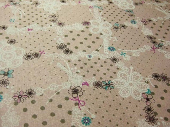 Graceful Lace in Pink -Japanese cotton linen fabric -Half Yard