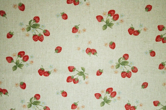 NEW-Sweet strawberry -Japanese cotton linen fabric -Fat quarter