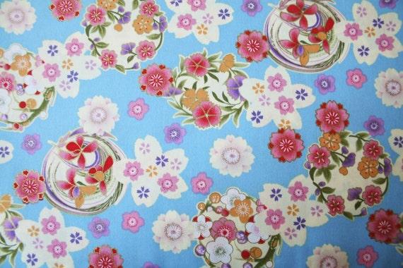 New-Kimono floral in blue -Half yard