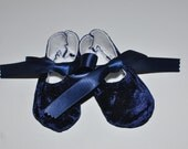 Navy Crushed Velvet Baby Shoes