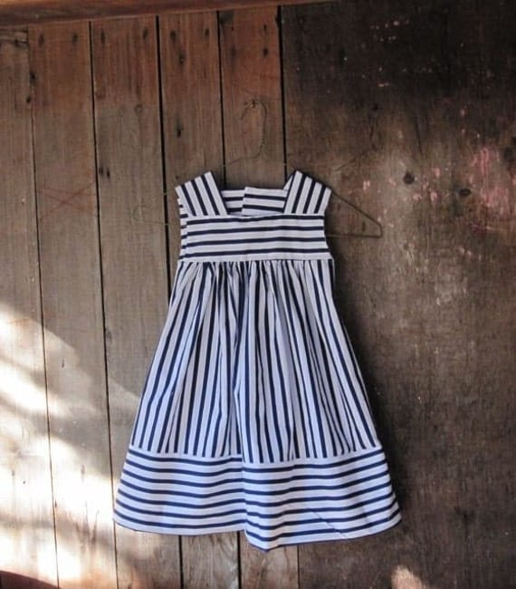 Crisp Nautical Stripes for Spring and Summer, Size 3, Ready to Ship