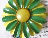 Vintage 60s Green and Yellow Enamel Flower Brooch