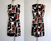 RESERVED for Siarron Sinclair Vintage 1960s Mod Floral Shift Dress