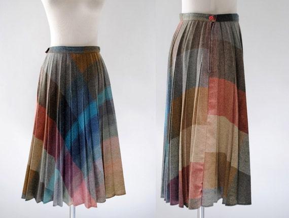 Vintage 1970s Wool Plaid Skirt