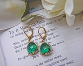 Sale. Matte Gold Emerald Green Glass Earrings. Modern Simplicity. Last Pair