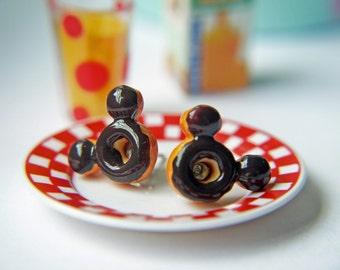 Mickey Mouse Doughnut Titanium Post Earrings Everyday Children Teenagers Earrings Hypoallergenic Nickel Free