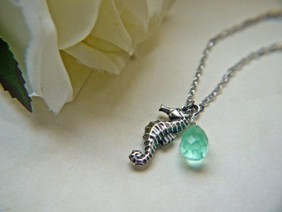 Seahorse Necklace Sea Foam Blue Glass Antique Silver Necklace Marine Nautical Summer