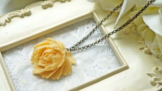 Romantic Yellow Rose Necklace. Feminine. Lovely. Antique Brass