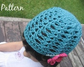 Crochet Beanie Hat in Lace Shells and Flower Pattern PDF