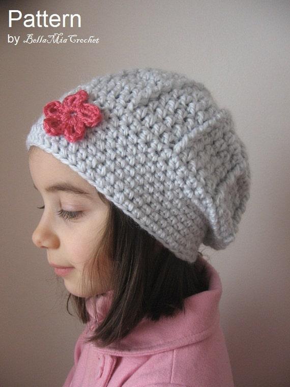Crochet Hat Pattern Beret : Items similar to Crochet Beret Hat Pattern Flower on Etsy