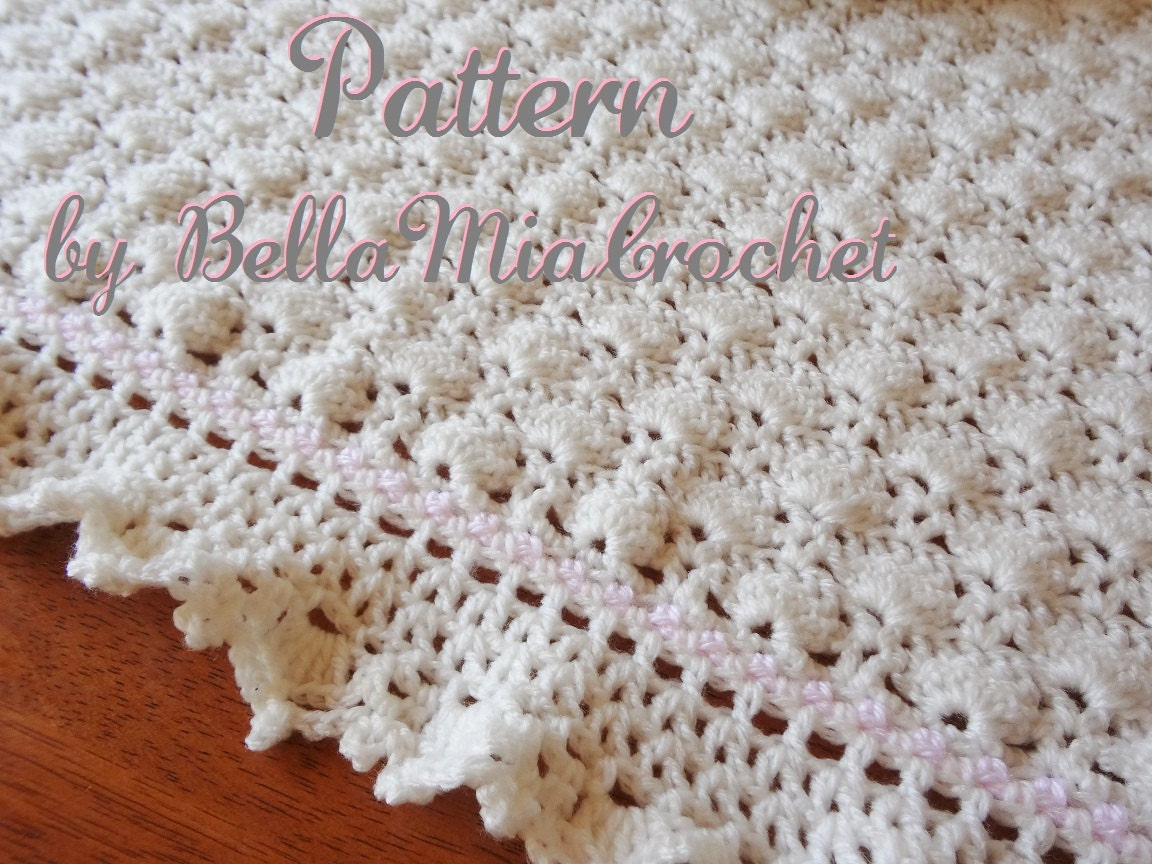 Crochet Patterns Of Baby Blankets : Baby Crochet Blanket Pattern // Ruffled Lace Trim // Eva