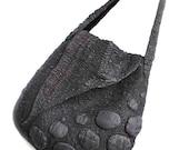 Nuno Felted Shoulder Bag OOAK Large Fall Fashion Black Red Felt Purse Textured Wool Handbag Unique Gift