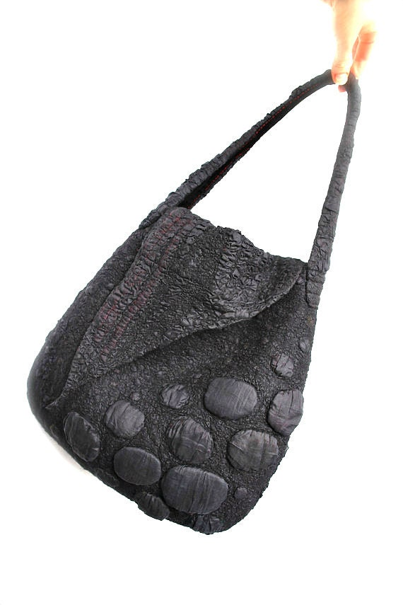 Nuno Felted Shoulder Bag OOAK Large Fall Fashion Black Red Felt Purse Textured Wool Handbag Unique Gift