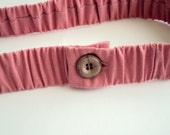 Pink Cotton Ruffled Belt with Button, size S ready to ship