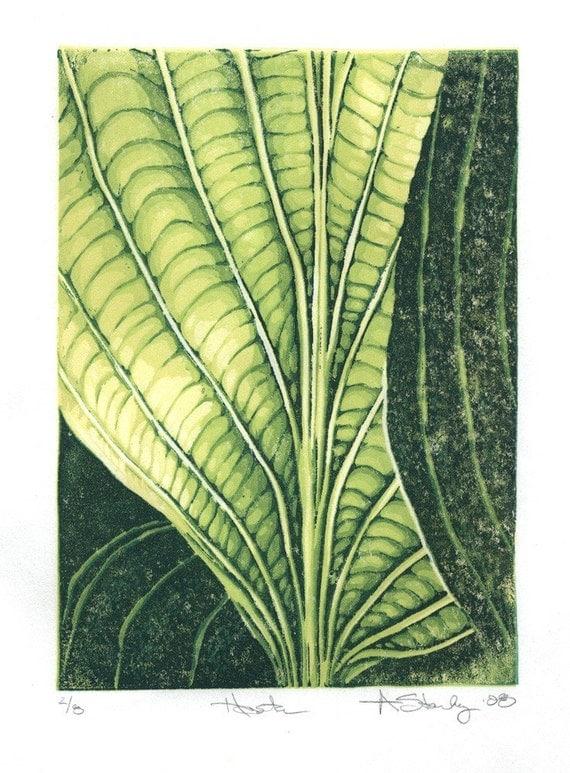 Hosta Linocut Reduction Print