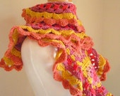 Crocheted Scarf No 10 - Ginger and Peach