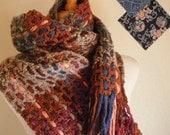 Crocheted Muffler No 29 - Rust and Heather