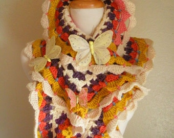 Crocheted Scarf No 8 - Sunshine Brights
