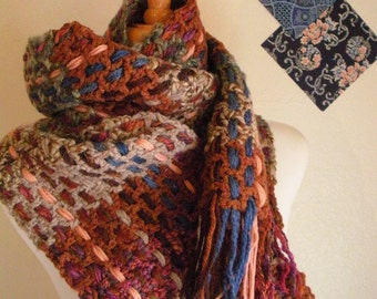 Crocheted Muffler No 29 - Rust and Heather