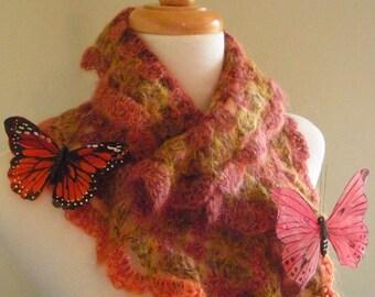 Crocheted Scarflette No 4 - Golden Peach