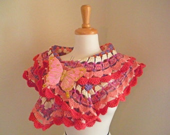 Crocheted Scarf - Shades of Pink