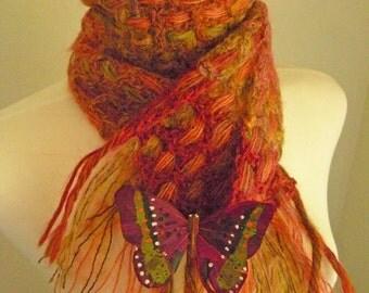 Crocheted Muffler No 3 - Bronze and Moss
