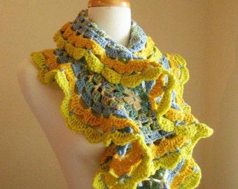 Crocheted Scarf No 17 - Lemon and Sky