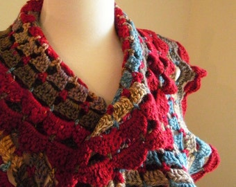 Crocheted Scarf No 39 - Country Red and Teal