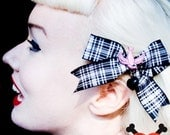 Pink Swallow and Black Heart Plaid Hair Bow - Rockabilly - Retro - 50s - Pinup