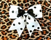 Retro Pin Up Black Bow Polka Dot Hair Bow - White